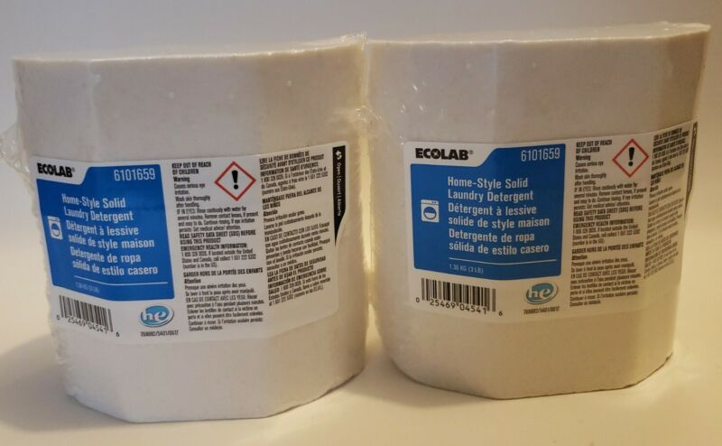 2 Pack Ecolab Home-Style Solid Laundry Detergent 3lb White Block 6101659 New