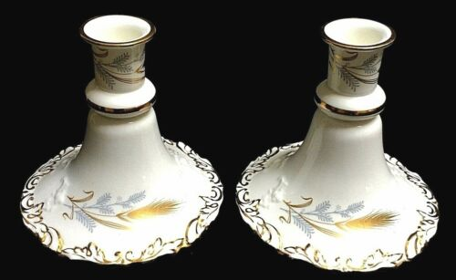 """Beautiful Antique Hammersley Pair Wheat Hand Painted Candlesticks 6"""""""