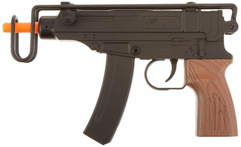 Airsoft Spring Pistol with Over Folding Wire Stock and Faux Wood Grip Gun