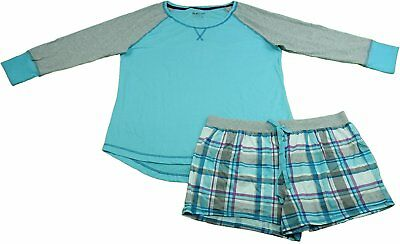 Kenneth Cole Women's Size Large 2-Piece Pajamas Short Set, Aqua Multi-Plaid