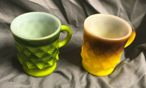 Vintage Anchor Hocking Green Yellow Fire King Oven Proof Mugs Coffee Milk Glass