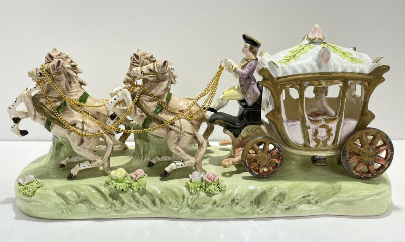Vintage Porcelain CAPODIMONTE ITALY Cinderella Horse Drawn Carriage Coach Driver