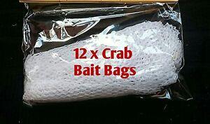 12 x REPLACEMENT CRAB LINE BAIT BAGS FISHING CARP MESH