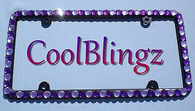Big Purple And Lavender Rhinestone Crystal Bling License Plate (black) Frame