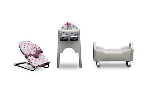 Lundby Smaland Miniature Furniture Baby Highchair Cradle Bouncer Dollhouse dolls