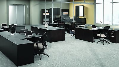 6 Contemporary Laminate Espresso Finish L-shape Office Desks With 1 Pedestal