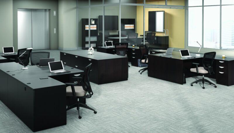 6 Contemporary Laminate Espresso Finish L-shape Office Desks With 1 Pedestal