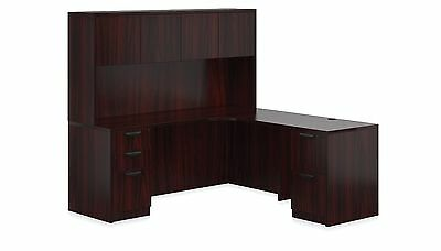 Double Pedestal L Shape Laminate Office Furniture Desk in Mahogany Finish