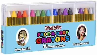 Face Paint and Body Crayons Makeup Sticks 16 Colors Non-Toxic Easy to Use  - Apply Halloween Makeup