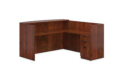 Reversible Laminate Office Furniture Reception Desk in Dark Cherry (Dark Cherry Office Furniture)