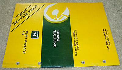 John Deere 675 Skidsteer Loader Operators Manual Dealer Copy