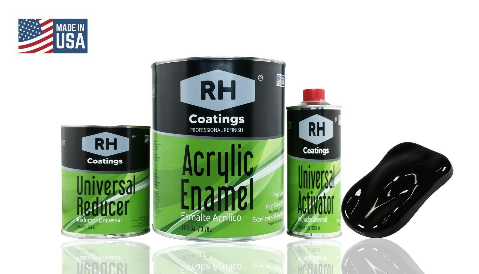 SUPER GLOSS JET BLACK Gal kit Single Stage ACRYLIC ENAMEL  Car Auto Paint Kit