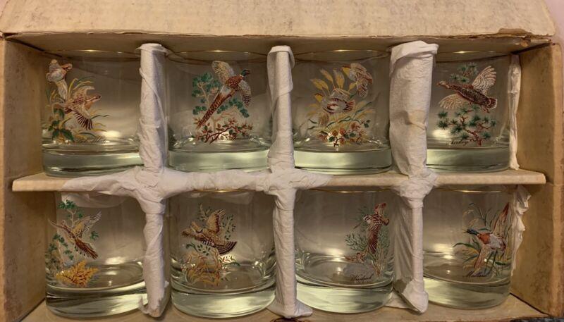 Vintage - WV Glass - 22K Gold Rimmed - Set Of 8 Upland Bird Tumblers - 9 1/2 Oz