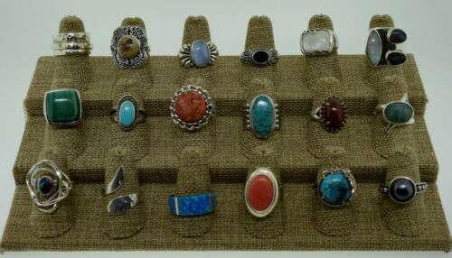 Lot of 18 Sterling Silver Multi Gemstone Statement Rings Bands Various