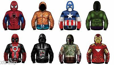 Authentic Marvel Comic Or Star Wars Adult Sublimated Zip Up Hoodie Costume