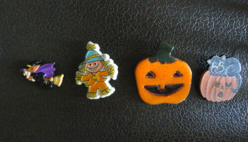 VTG Lot 4 Halloween Scarecrow Russ Witch Painted & Glazed Pumpkins Brooch/ Pins