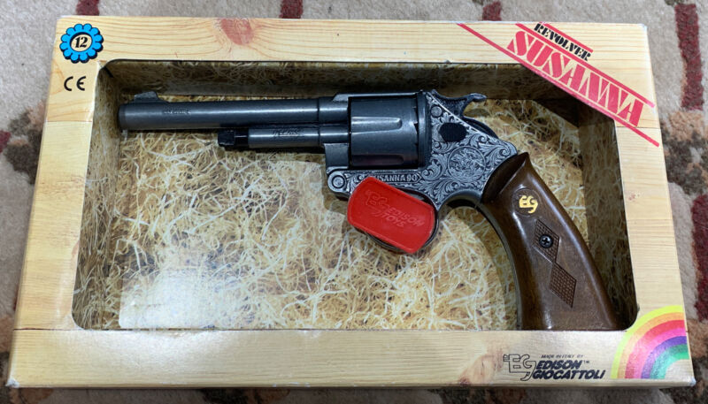 Vtg Edison Giocattoli Revolver Susanna Pistol Made In Italy Never Used!