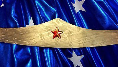 Wonder Woman Headband Fancy Dress Leatherette Tiara Superhero NEW Gold