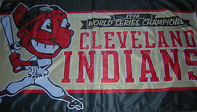 Cleveland Indians 1948 Championship 3X5 Flag EXCLUSIVE Chief Wahoo FREE SHIPPING