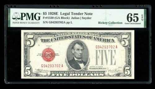 DBR 1928-E $5 Legal Fr. 1530 Gem GA Block PMG 65 EPQ Serial G94293702A