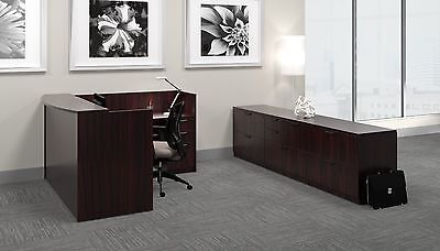 Single Pedestal Reversible Contemporary Reception Office Desk In Mahogany Finish