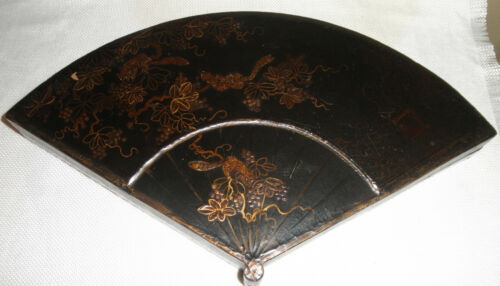 ANTIQUE JAPANESE BLACK AND GOLD LACQUER FAN SHAPED BOX, LARGE