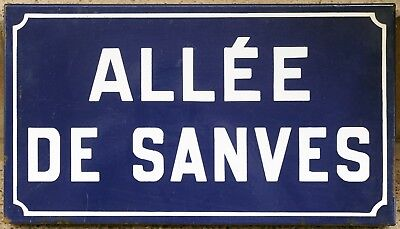 Old French enamel street sign plaque road name plate Alley Sanves Etampes 1970s