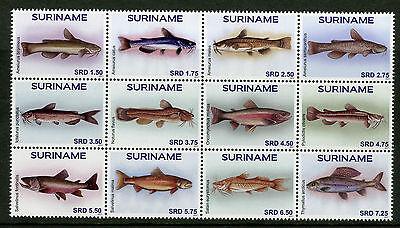 Suriname 2017 MNH Fish 12v Block Fishes Marine Stamps