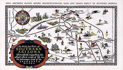 Early Map Southern Arizona Mesas Vintage Wall Poster Art Print History Geneology