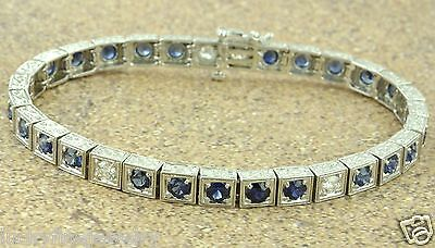 6.05 ct antique style DIAMOND & sapphire BRACELET white gold 14k made in USA