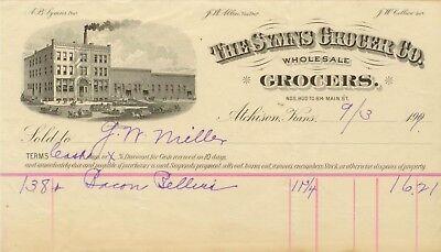 1909 Atchison Kansas The Symns Grocer Co 800-814 Main St. letterhead