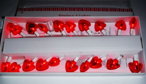 VALENTINES DAY HEART SHAPED STRING LIGHTS RED LIGHTS 20 CT..VALENTINE DECORATION