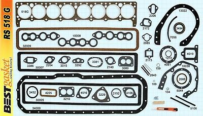 1934-1950 Buick Straight-8 Engine. Full Gasket Set. Best. Free Shipping!