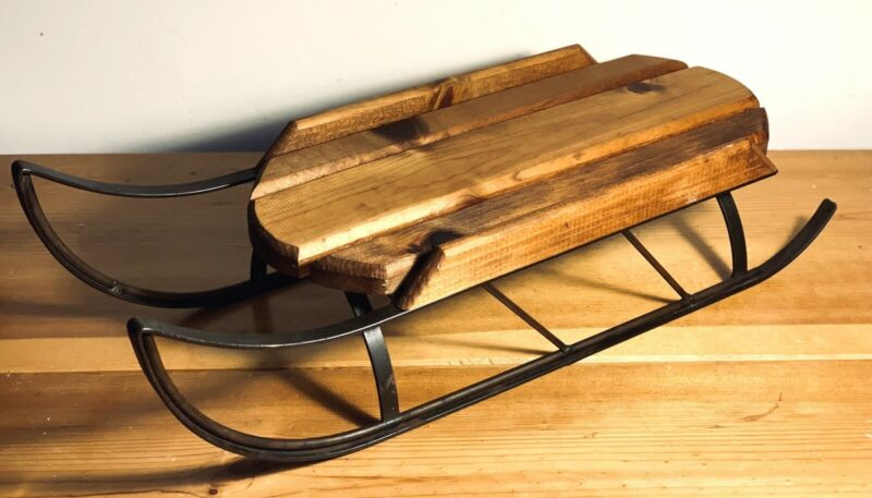 "Antique Wooden Winter Sled/Sleigh w/ Iron Runners~21""~EX COND~50% PRICE CUT!"