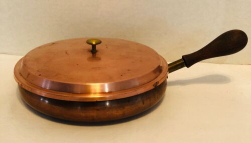 "Luso Copper Pan With Lid 8"" Round Vintage"