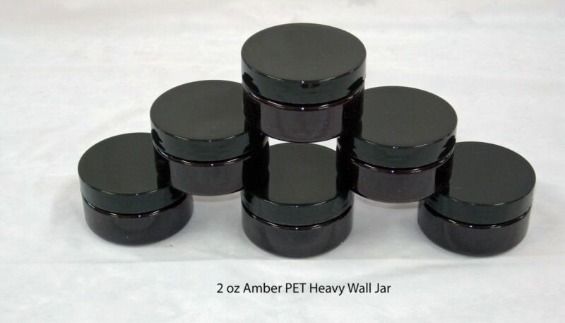 2 or 4 or 8 oz Short PET Plastic Amber Containers Jars w/Black Lined Cap