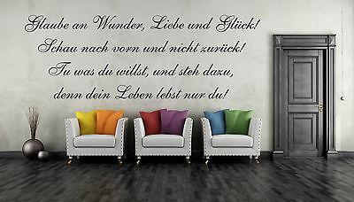 SONDERAKTION Wandtattoo 60cm Glaube an Wunder Liebe Glück Spruch Zitat Aufkleber