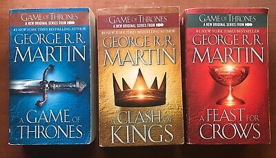 GAME OF THRONES GEORGE R.R. MARTIN #1 , #2 & # 4 PAPERBACK FANTASY 3 BOOK LOT