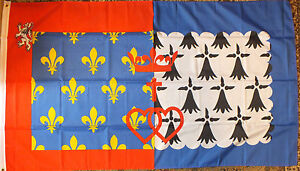 Loire-Catholic-Flag-5x3-Sacred-Heart-Royal-Cross-Catholique-Breton-Nantes-bnip