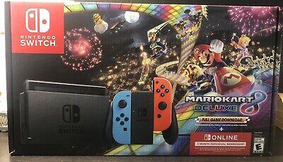 Nintendo Switch Joy Con Blue Red Mario Kart 8 Deluxe Bundle + Switch 3mo Online