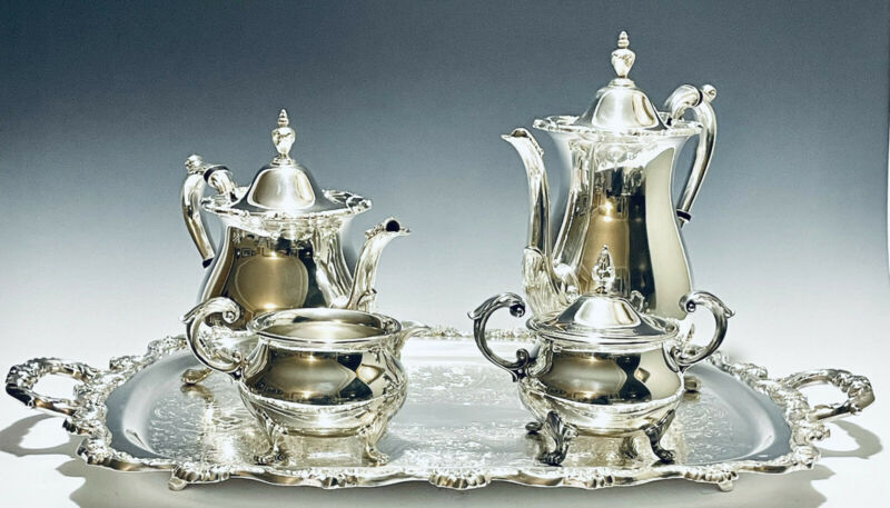 Majestic Antique Set of 5 Victorian  Tea Set Silver Plated Bristol By Poole
