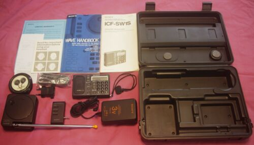 Sony icf sw1 radio set with antenna & power supply, just serviced with warranty