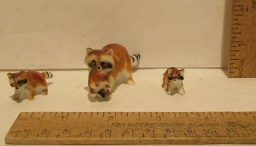 3 piece mini RACCOON FAMILY - Mother carrying baby and two kit figures