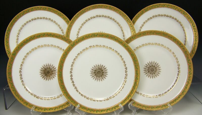 """RARE 6 LIMOGES HAVILAND RAPHAEL WEILL & CO HANDPAINTED HOLLY BERRY 8.5"""" PLATES"""