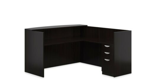 Reversible Laminate Office Furniture Reception Desk in Espresso Finish