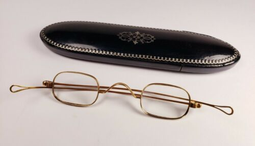 14K antique eyeglasses.  Marked and tested. Solid gold spectacles with case.