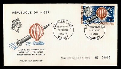 DR WHO 1970 NIGER FDC MONTGOLFIER SPACE RESEARCH PIONEERS  C240316