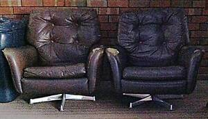 Brown leather swivel armchairs [2] Dianella Stirling Area Preview