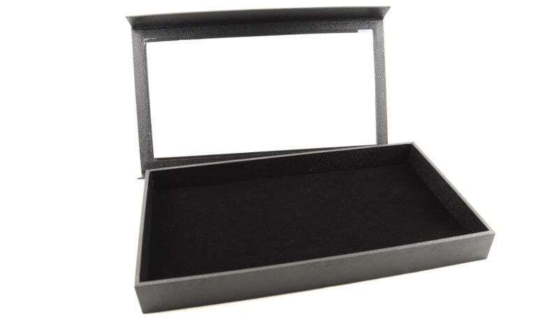 Large Black Jewellery Display Case with Detachable Lid & Velvet Tray Liner