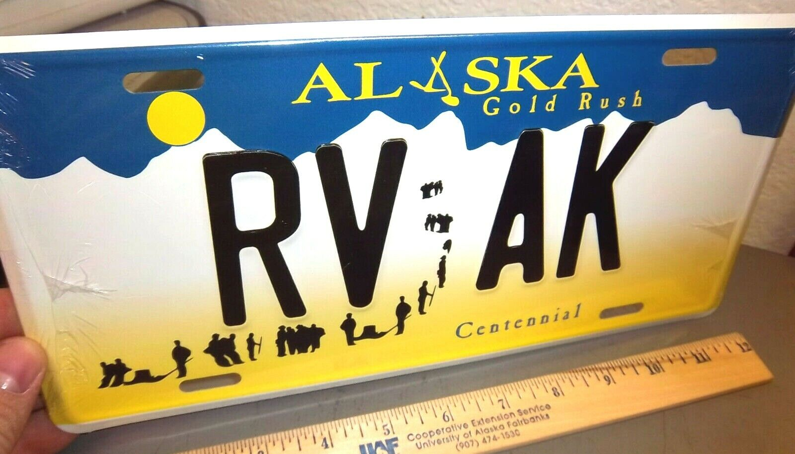Alaska Gold Rush Centennial style License Plate RV AK replica plate USA made